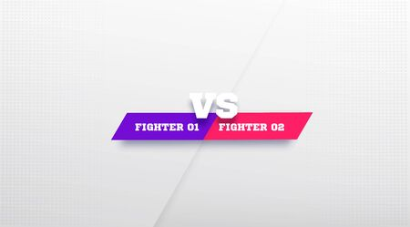 White VS Logo in grey background. Versus Board of rivals, with space for text. vector illustration. Violet and pink colors vs banner. football, basketball, soccer screen. Flat design. Teamplate