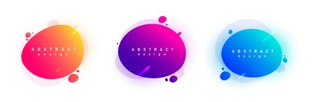 Gradient geometric banners with flowing liquid shapes. Trendy futuristic gradient design.