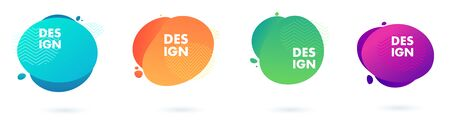 Set of abstract modern graphic elements. Dynamical colored forms and line.