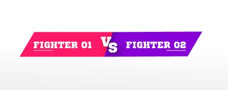 Flat versus screen. Vs battle headline, conflict duel between Red and Blue teams. violet and pink colors. Confrontation fight competition. vector illustration