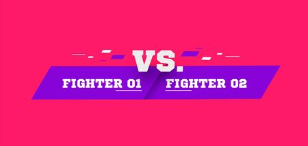 Flat versus screen. Vs battle headline, conflict duel between Red and Blue teams. Violet on pink background. Confrontation fight competition. vector illustration