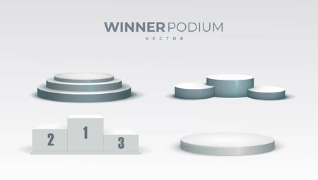 White podiums. Round and square 3d empty podium with steps. Showroom pedestals, floor stage platform vector isolated mockup eps 10