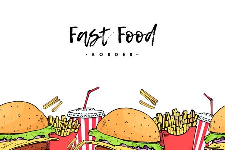Burger. Cola. potato free. Colorful fast food Hand draw elements background border. isolated seamless pattern. vector illustration