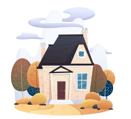 Two story autumn house with falling leaves and decorated with on isolated background