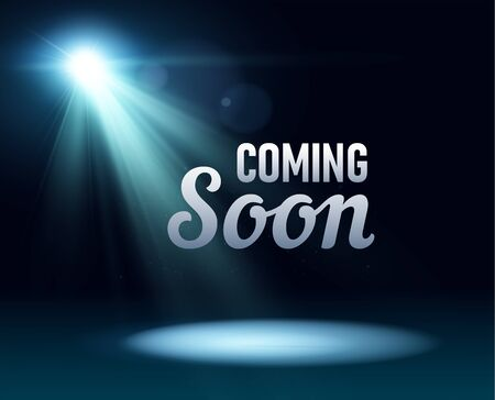 Coming soon stage illuminated with light spotlight. Stage realistic film poster vector illustration. Sale market commerce blank concept.