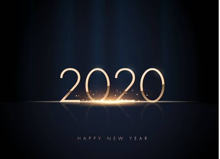 2020 golden New Year sign on winter holiday background.
