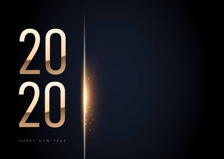 2020 golden New Year sign on winter holiday background. Vector New Year illustration.