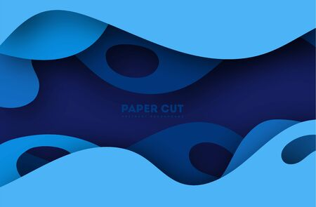 3D abstract blue background with paper cut shapes. Vector design layout for business presentations, flyers, posters and invitations. Colorful carving art