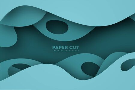 Paper cut background. Abstract realistic papercut decoration textured with cardboard wavy layers. 3d topography relief. Carving art. Vector illustration. Cover layout material design template.