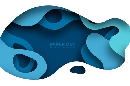 Abstract blue paper cut background with simple shapes. Modern vector illustration for concept design. Realistic 3d layered smooth bending objects