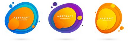 Set of three round colorful vector shapes with gradient colors and trendy design.Template. isolated. Abstract vector banners. Design elements. illustration