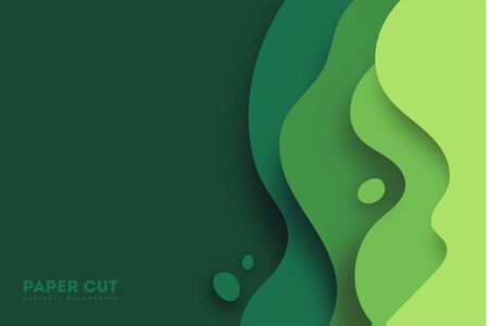 Green abstract paper carve background.Paper art style of nature concept design.