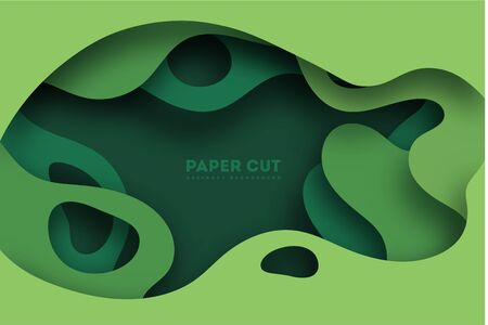 3D abstract background with green paper cut shapes. Vector design layout for business presentations, flyers, posters and invitations. Colorful carving art, environment and ecology element. illustration