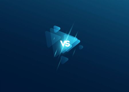 Icon blue neon versus  vs letters for sports and fight competition. sport triangle design Battle and match, game concept competitive. Vector illustration Stock Illustratie