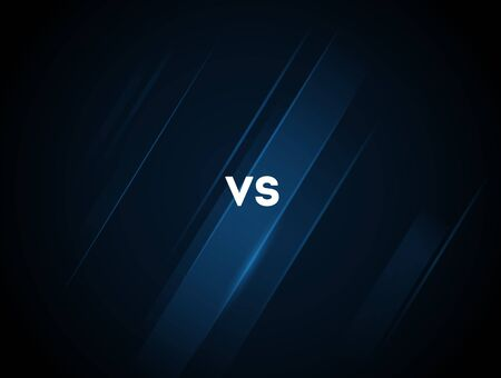 Blue neon versus vs letters for sports and fight competition. Battle vs match, game concept competitive vs. Vector illustration. Stock Illustratie