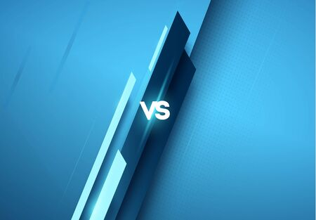 versus  vs letters for sports and fight competition. MMA, Battle, vs match, game concept competitive vs. with simple graphic elements. blue.