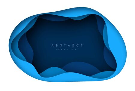 Vector background with deep blue color paper cut shapes. 3D abstract paper art style, design layout for business presentations, flyers, posters, prints, decoration, cards, brochure cover