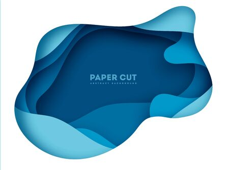 Paper art cartoon abstract waves in realistic trendy craft style. Modern origami design template. Concept inspiration or idea for your projects. Vector illustration. eps 10 Stock Illustratie