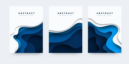 3D abstract background with paper cut shapes. .Layered tunnel wave background. Shadows box. Vector design for business presentations, flyers, posters Stock Illustratie