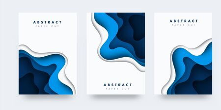 Vertical A4 banners with 3D abstract background with blue paper cut waves. Contrast colors. Vector design layout for presentations, flyers, posters Stock Illustratie