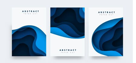 Paper cut design blue concept for flyers, presentations and posters. Vector abstract carving art. White and blue 3D layered vertical banners. Vector illustartion Stock Illustratie