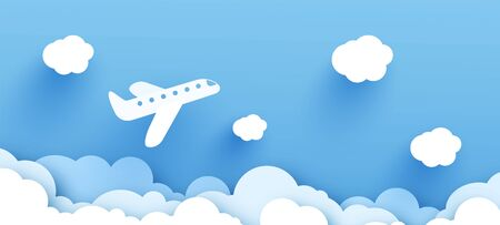 illustration of an airplane over a cloud. design paper art and handicraft