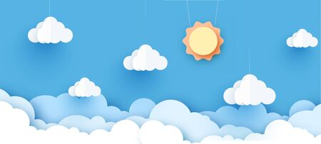Vector sun with clouds background.paper cut style. Ilustracja