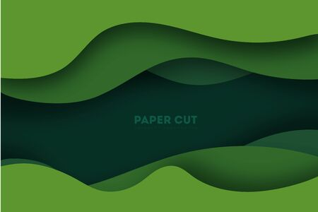 Abstract green layers paper carve background.Paper art style of nature concept design.Vector illustration. Ilustración de vector