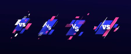 versus   vs letters for sports and fight competition. Battle, vs match, game concept competitive vs. with simple graphic elements. blue.