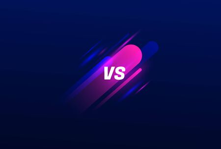 Neon Versus  . VS Vector Letters on sport elements. Modern colors on dark background. Competition Icon. Fight Symbol.