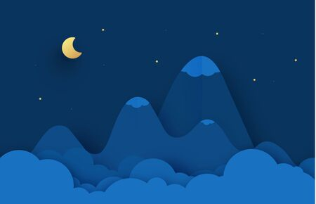 Mountain landscape paper cut. Cloud, star, moon sky. Abstract fantasy background. Vector cartoon origami styling design backdrop illustration 向量圖像