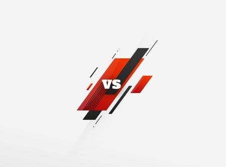 Versus duel headline. Battle red vs blue team frame, game match competition and teams confrontation.