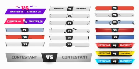 Versus Board of rivals, with space for text. vector illustration. Grey vs banner. football, basketball, soccer screen. vector illustration. yellow. in dark background
