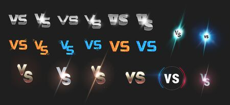 Set of versus vs letters for sports and fight competition. MMA, UFS, Battle, vs match, game concept competitive vs. Stock Illustratie