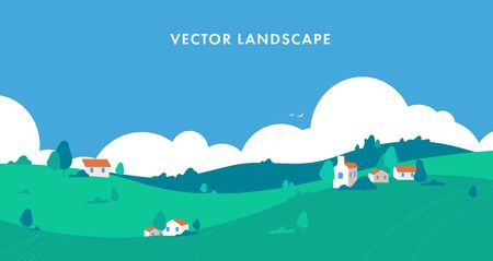 Panorama Mountain landscape with a dawn, an elongated format for the convenience of using it as a background. Flat style. With clouds, house and trees. vector illustration. Ilustrace