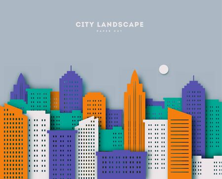 Cityscape, paper art style. Landscape paper cut uraban with clouds and blue background vector illustration