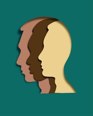 Tolerance concept in paper cut style. Multi-ethnic faces in one. Different ethnicity men: African, Asian, Chinese, European, Latin American, Arab. Vector illustration