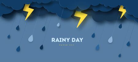 Overcast sky, thunder and lightning in paper cut style. Vector illustration. Rainy day concept with dark clouds