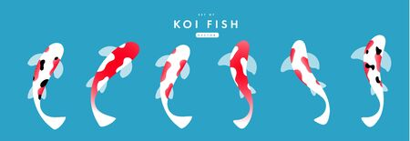 Set of koi carps. vector flat illustration.