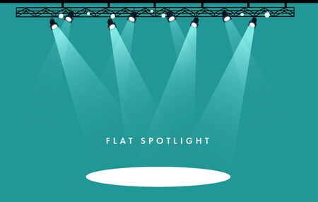 Flat Vector stage with set of blue spotlights. Blue stage lights. esp 10