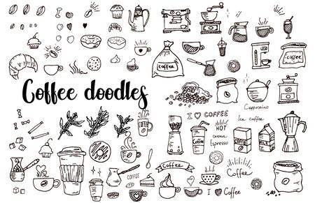 Set of doodles, hand drawn rough simple sketches, various kinds of coffee, ingredients and devices for coffee making. Vector isolated on white background for cafe menu, fliers, chalkboard Ilustração