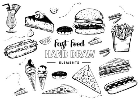 Fast food set. Hamburger, pizza, hotdog. Hand drawn illustrations Иллюстрация