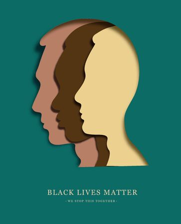 Differrent faces in one on green background. Black lives matter. African face with other. Fist raised up. Paper cut. poster design. vector illustration.