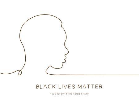Black lives matter. African face. Line art. Black man in profile Tolerance. vector illustration
