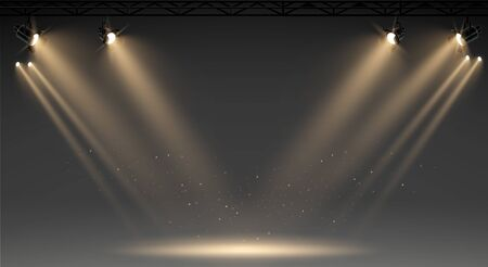 Illuminated stage with scenic lights and smoke. Blue vector spotlight with smoke volume light effect on black background. Stadium cloudiness projector. Mist show room. Vector