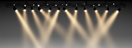 Set of half transparent spotlights with smoke. Various stage lights. Stock Illustratie