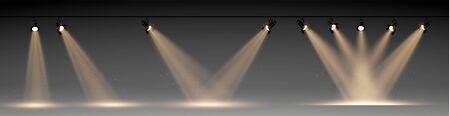 Scene illumination big collection, transparent effects. Bright lighting with spotlights. Vector Illustration eps 10 Stock Illustratie
