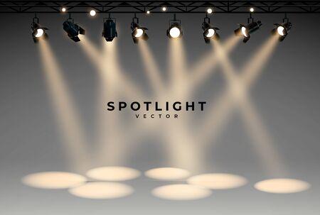 Spotlights empty scene. Illuminated design. Vector illustration. Stock Illustratie
