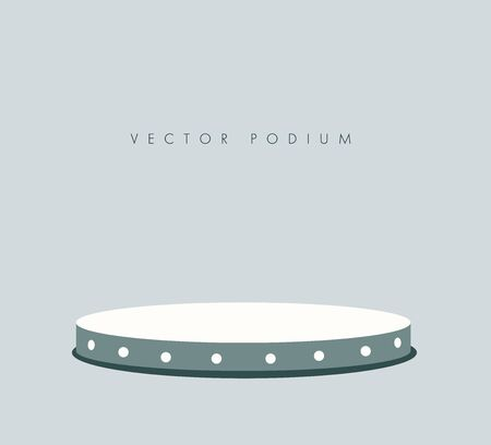 Round stage podium illuminated by spotlights. Empty pedestal for display. 3d realistic platform for design. Isolated. Yellow background. Template. Flat design. Vector illustration