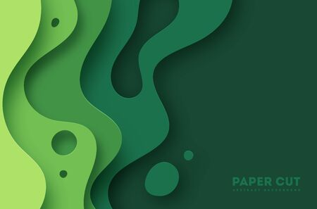 Green abstract paper carve background.Paper art style of nature concept design.Vector illustration